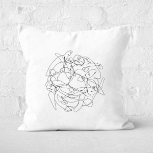 Pressed Flowers Turtle Scribbles Square Cushion