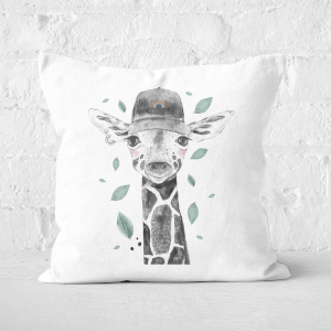 Pressed Flowers Rainbow Giraffe Square Cushion