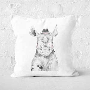 Pressed Flowers Literate Rhino Square Cushion