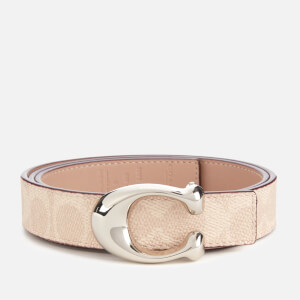 Coach Women's 25mm C Reversible Signature Belt - Sand Taupe