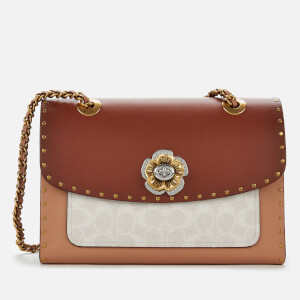 Coach Women's Signature Border Rivets Parker Shoulder Bag - Chalk Rust Multi