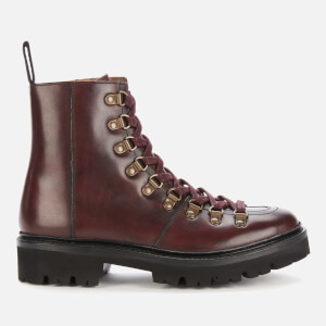 Grenson Women's Exclusive to Coggles Nanette Leather Hiking Style Boots - Burgundy