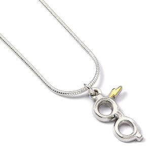 Harry Potter Sterling Silver Glasses and Lightning Bolt Necklace