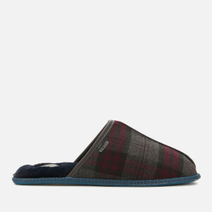 Ted Baker Men's Ayntint Checked Wool Slippers - Dark Red