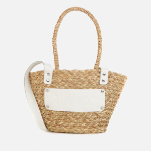Núnoo Women's Small Wicker Tote Bag - Nature/White
