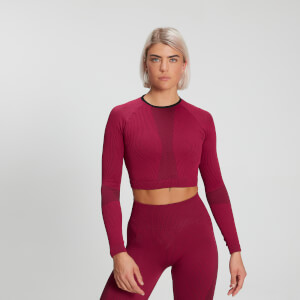 Maglia a maniche lunghe a coste MP Raw Training Seamless da donna - Plum