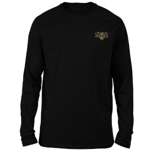 Harry Potter Hufflepuff Embroidered Unisex Long Sleeved T-Shirt - Black