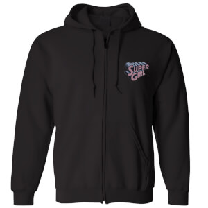 DC Super Girl Embroidered Unisex Zipped Hoodie - Black