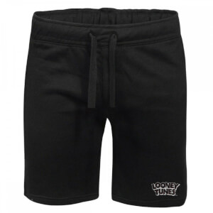 Looney Tunes Logo Embroidered Unisex Jogger Shorts - Black