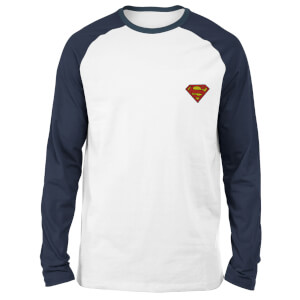 DC Superman Unisex Long Sleeved Raglan T-Shirt - White/Navy