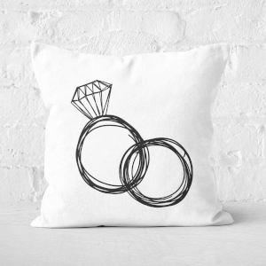 Hand Drawn Engagement Square Cushion