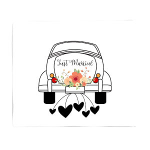 Just Married Car Fleece Blanket