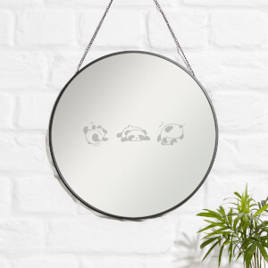 Playful Panda's Engraved Mirror