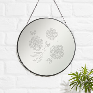 Triple Flowers Engraved Mirror