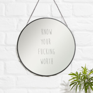 Know Your Fucking Worth Engraved Mirror