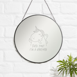 Fuck You I'm A Unicorn Engraved Mirror