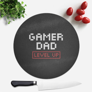Gamer Dad Level Up Round Chopping Board
