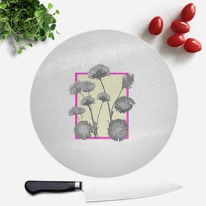 Pressed Flowers Feminine Tones Framed Sketched Flowers Round Chopping Board