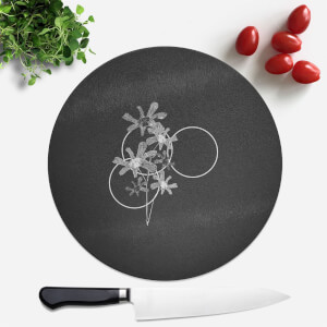 Pressed Flowers Monochrome Tone Flowers and Circles Round Chopping Board