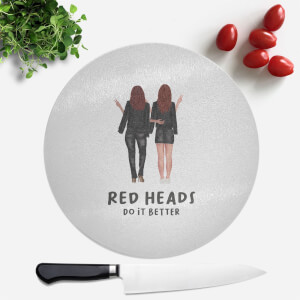 Pressed Flowers Red Heads Do It Better Round Chopping Board