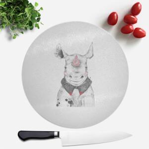 Pressed Flowers Clown Rhino Round Chopping Board