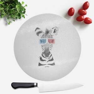 Pressed Flowers 3D Zebra Round Chopping Board