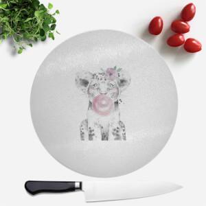 Pressed Flowers Bubblegum Cub Round Chopping Board