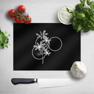 Pressed Flowers Monochrome Tone Flowers and Circles Chopping Board
