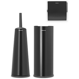 Brabantia Toilet Accessories - Matt Black (Set of 3)