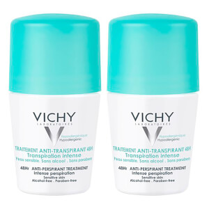 Vichy 48 Hour Intensive Antiperspirant Roll-on Deodorant for Sensitive Skin Bundle 2 x 50ml
