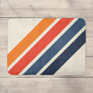 Blue Orange Retro Stripes Bath Mat
