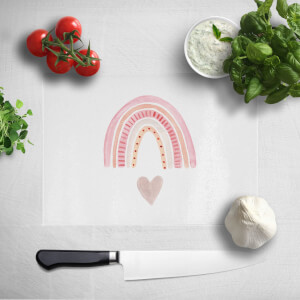 Pink Heart And Rainbow Chopping Board