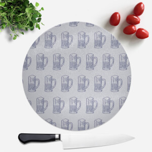Beer Glass Pattern Round Chopping Board