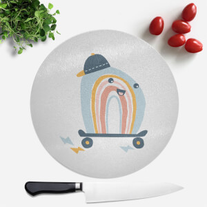 Skating Rainbow Round Chopping Board