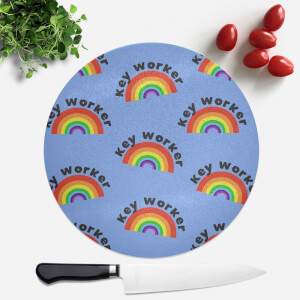 Key Worker Rainbow Round Chopping Board