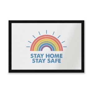 Stay Home Stay Safe Radiant Rainbow Entrance Mat