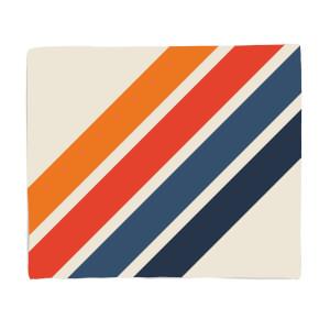 Blue Orange Retro Stripes Fleece Blanket