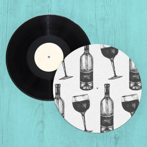 Red Wine And Bottle Slip Mat