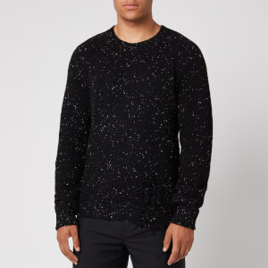 Maison Margiela Men's Distressed Speckled Wool Blend Jumper - Black