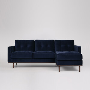 Swoon Berlin Velvet Corner Sofa - Right Hand Side