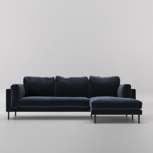 Swoon Munich Velvet Corner Sofa - Right Hand Side