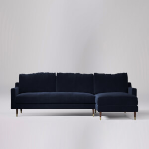 Swoon Reiti Velvet Corner Sofa - Right Hand Side
