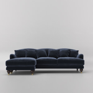Swoon Holton Velvet Corner Sofa - Left Hand Side