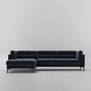 Swoon Landau Velvet Corner Sofa - Left Hand Side
