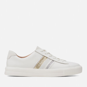 Clarks Women's Un Maui Band Leather Low Top Trainers - White Interest