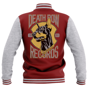 Death Row Records Women's Varsity Jacket - Burgundy/Grey