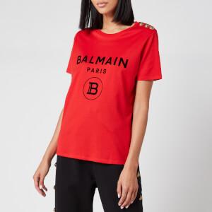 Balmain Women's Short Sleeve 3 Button Flocked Logo T-Shirt - Red