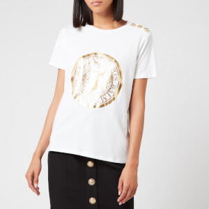 Balmain Women's 3 Button Metallic Coin T-Shirt - White