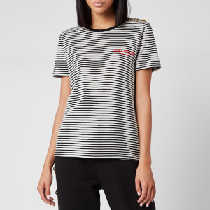 Balmain Women's Short Sleeve 3 Button Striped Logo Detail T-Shirt - Black