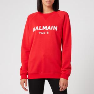 Balmain Women's Satin Logo Sweatshirt - Red